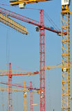 Many elevating cranes Stock Photo