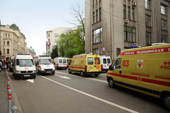 Many emergency ambulances on rehearsal Royalty Free Stock Photo