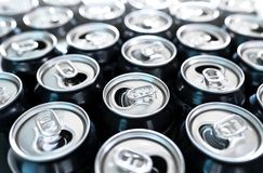 Many empty cans. A lot of opened soda, soft drink, lemonade, cola, beer or energy drink containers. Recycling, addiction or alcoholism concept stock photo