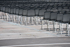 Many empty chairs without audience Stock Image