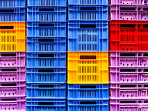 Many empty crate packaging background Royalty Free Stock Photos