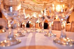Many empty glasses on a table, closeup close up of many champagne glasses on a special event. Elements of decor for the wedding ceremony Stock Images