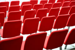 Many Empty Red Seats In Rows. Together Stock Images