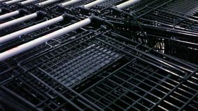 Many empty shopping carts in a row. Video shift Royalty Free Stock Photo