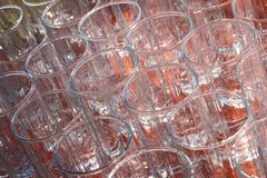 Many empty, transparent glass cup. Stock Images