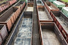 Many empty wagons Royalty Free Stock Photos