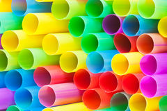 Many ends of multicoloured plastic drinking straws Royalty Free Stock Image