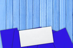 Many envelopes on the blue wooden paint Royalty Free Stock Image