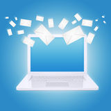 Many envelopes and laptop Royalty Free Stock Images