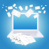 Many envelopes and laptop Royalty Free Stock Photo