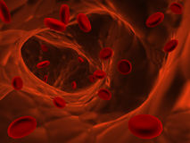 Many erythrocytes, floating on an artery Royalty Free Stock Photography