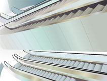 Many escalators indoor, view from above Stock Photo