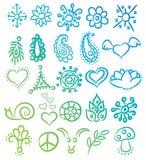 Many ethnic symbols and ornates vector Royalty Free Stock Photos