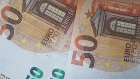 Many 50 euro banknotes. Many 50 and 100 euro banknotes stock video footage