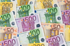 Many Euro Banknotes. Of the European Union Royalty Free Stock Images