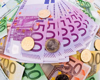 Many Euro Banknotes. Of the European Union Stock Image
