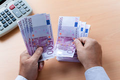 Many Euro Banknotes. Of the European Union Stock Images
