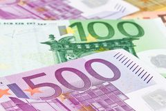 Many euro banknotes. Of the european union. close up Royalty Free Stock Photo