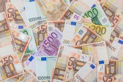 Many euro banknotes as background. Close up shot Royalty Free Stock Photography