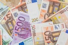 Many euro banknotes as background. Close up shot Stock Photos