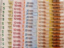 Many euro banknotes as a background. With white background Royalty Free Stock Image