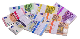 Many Euro banknotes as group Royalty Free Stock Photography