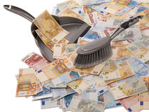 Many euro banknotes with broom and dustpan. On a white background Royalty Free Stock Image