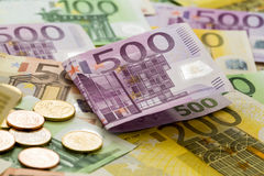 Many euro banknotes Stock Photos