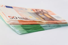 Many 50 and 100 euro banknotes Royalty Free Stock Images