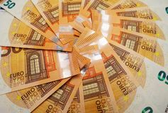 Many 50 Euro Banknotes. Several 50 euro banknotes on a table Royalty Free Stock Photos