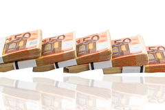 Many euro banknotes. Stack of many fifty euro banknotes. photo icon for money, wealth, income and expenditure Stock Photo
