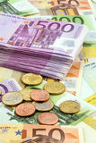 Many euro banknotes. Symbolic photo for wealth and investment Royalty Free Stock Images