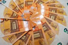 50 euro banknotes. Many 50 euro banknotes on a table stock images