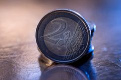 Many euro coin isolated on gold. Close up Royalty Free Stock Image