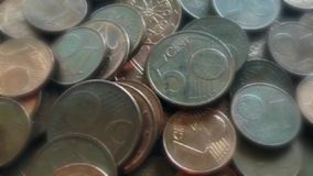Many euro coins stock video footage