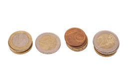 Many Euro coins (currency of the European Union) Royalty Free Stock Photos