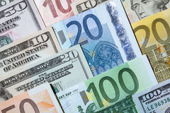 Many euro and dollar banknote Stock Images