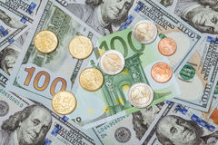 Many euro and dollar banknote Stock Photos