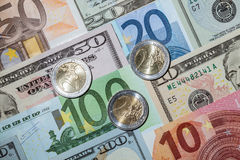 Many euro and dollar banknote Royalty Free Stock Photography