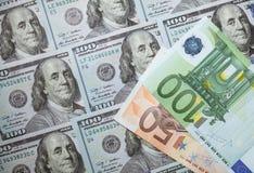 Many euro and dollar banknotes Royalty Free Stock Photos