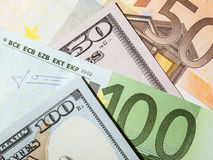 Many euro and dollar banknotes Royalty Free Stock Photography