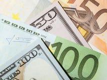 Many euro and dollar banknotes Royalty Free Stock Photography