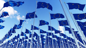 Many European Union Flags on flagpoles against blue sky. Royalty Free Stock Photo