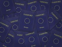 Many European Union Passports Royalty Free Stock Photo