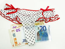 Many euros in underwear. Stock Photo