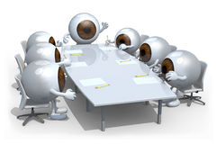 Many eyeballs meeting around the table. And follow their boss Royalty Free Stock Image