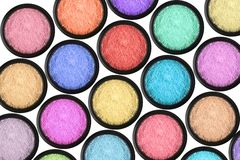 Many eyeshadows on white Stock Image