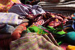 Many fabrics of various material Royalty Free Stock Photo