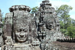The Many Faces of Bayon Temple at Angkor Thom Royalty Free Stock Image