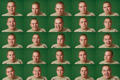 Many faces (chromakey background, easy to cut) Stock Image